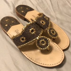 Jack Rogers gold and blue size 8.5